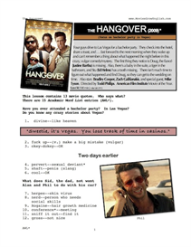 HANGOVER, Whole-Movie English (ESL) Lesson | eBooks | Education