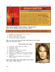 JOHN CARTER, Whole-Movie English (ESL) Lesson | eBooks | Education