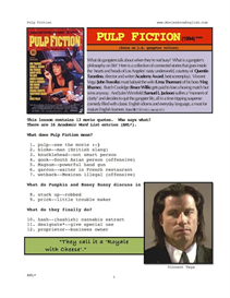 PULP FICTION, Whole-Movie English (ESL) Lesson | eBooks | Education