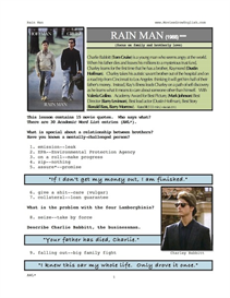 RAIN MAN, Whole-Movie English (ESL) Lesson | eBooks | Education