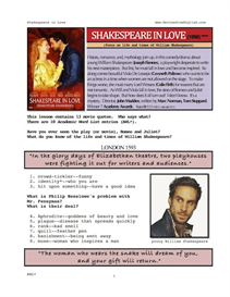 SHAKESPEARE IN LOVE, Whole-Movie English (ESL) Lesson | eBooks | Education