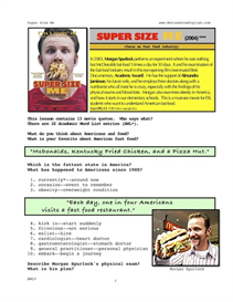 SUPER SIZE ME, Whole-Movie English (ESL) Lesson | eBooks | Education