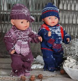 dollknittingpatterns - 0085d marius - sweater, cap, mittens, pants, sweater in stripes, socks, backpack