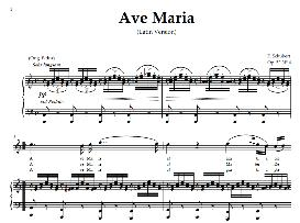 ave maria, high voice  in c major (high sopr/tenor)  schubert (latin). digital score. a4 (portrait)