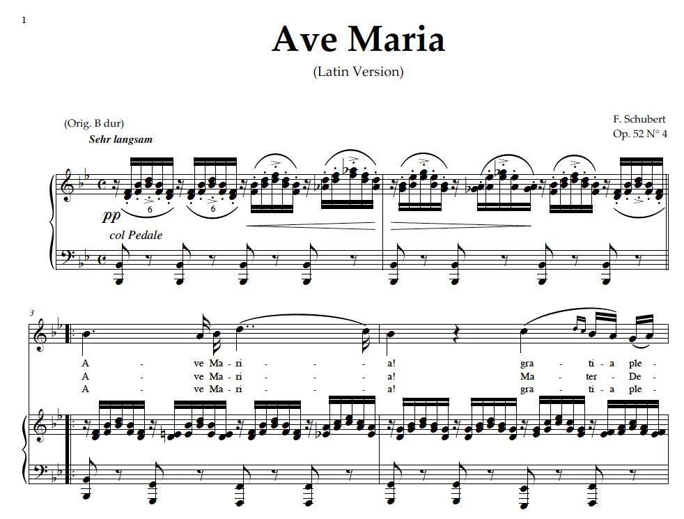 Muito Ave Maria, High Voice in B Flat Major (Sopr./Tenor Schubert (Latin  GJ44