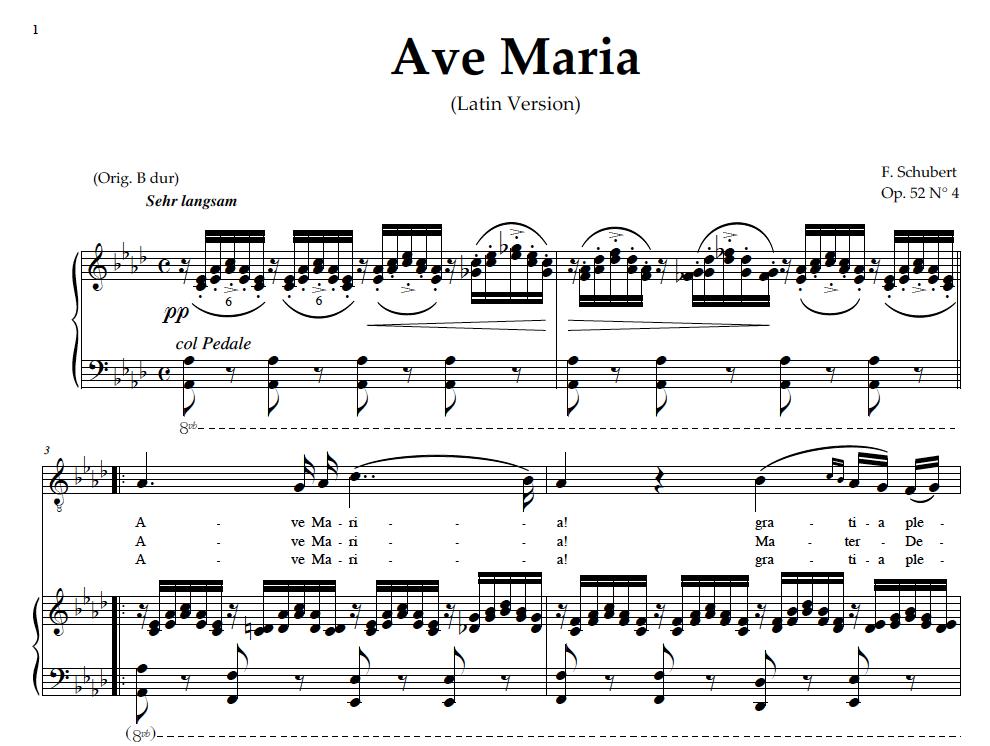 Piano ave maria sheet music piano : Ave Maria, Medium Voice (Baritone) in A Flat Major, Schubert ...