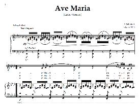 ave maria, medium voice (baritone) in a flat major, schubert latin digi