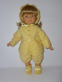 doll knitting pattern - a004-yellow buttercup outfit