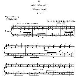 Ah!mio cor,schernito sei, Low Voice (Mezzo) in G Minor, G.F.Handel, Anthology of Italian Song of the 17th and 18th centuries (Parisotti), Vol.1, Schirmer (1894) | eBooks | Sheet Music
