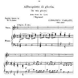 All'acquisto di gloria, High Voice in F Major 5Soprano/Tenor), A.Scarlatti. Anthology of Italian Song of the 17th and 18th centuries (Parisotti), Vol.2, Schirmer (1894) | eBooks | Sheet Music