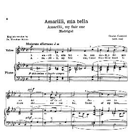 Amarilli, mia bella, Low Voice in F Minor, G.Caccini.Transposition for Low Voice. For Bass, Contralto, Countertenor. Source: Anthology of Italian Song of the 17th and 18th Centuries (Parisotti), Vol. 2. Schirmer (1894) | eBooks | Sheet Music