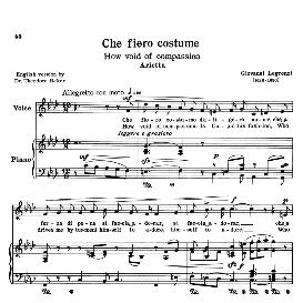 Che fiero costume, Low Voice in F Minor, G.Legrenzi. Transposition for Low Voice (Schirmer). For Bass, Contralto, Countertenor. Source: Anthology of Italian Song of the 17th and 18th centuries (Parisotti), Vol.1, Schirmer (1894) | eBooks | Sheet Music