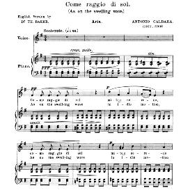 Come raggio di sol, Medium Voice in E Minor, A.Caldara. For Mezzo, Baritone. Anthology of Italian Song of the 17th and 18th centuries (Parisotti), Vol.1, Schirmer (1894) | eBooks | Sheet Music
