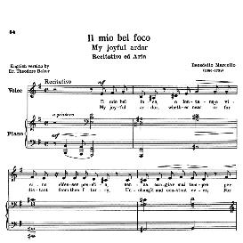 Il mio bel foco (Quella fiamma), Low Voice in E Minor, B.Marcello. For Contralto, Bass, Countertenor. Transposition for Low Voice. Source: Anthology of Italian Song of the 17th and 18th centuries (Parisotti), Vol.1, Schirmer (1894) | eBooks | Sheet Music