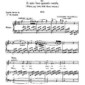 Il mio ben quando verrà, High Voice in F Major, G.Paisiello. For Soprano, Tenor, Coloratura Mezzo. Anthology of Italian Song of the 17th and 18th centuries (Parisotti), Vol.1, Schirmer (1894 | eBooks | Sheet Music