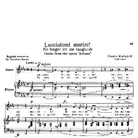 Lasciatemi morire, Low Voice in C Minor, C.Monteverdi. Transposition for Low Voice. For Contralto, Countertenor. Source: Anthology of Italian Song of the 17th and 18th centuries (Parisotti), Vol.2, Schirmer (1894) | eBooks | Sheet Music