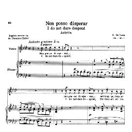 Non posso disperar, High Voice in F Minor, G.M.Bononcini. For Soprano, Tenor.Transposition for High Voice. Source: Anthology of Italian Song of the 17th and 18th centuries (Parisotti), Vol.2, Schirmer (1894) | eBooks | Sheet Music