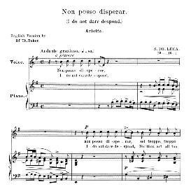 Non posso disperar, Medium Voice in E Minor, G.M.Bononcini. For Soprano, Mezzo, Tenor.  Anthology of Italian Song of the 17th and 18th centuries (Parisotti), Vol.2, Schirmer (1894) | eBooks | Sheet Music