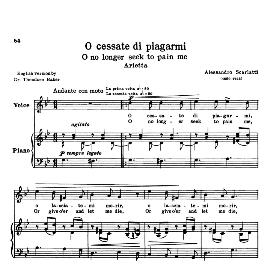 O cessate  di piagarmi, Medium-High Voice in G Minor, A Scarlatti. For Soprano, Tenor. Transposition for High Voice. Source: Anthology of Italian Song of the 17th and 18th centuries (Parisotti), Vol.1, Schirmer (1894) | eBooks | Sheet Music