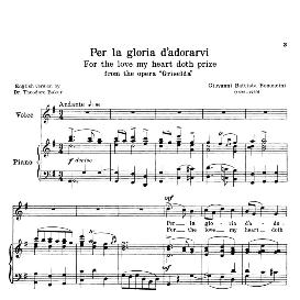 Per la gloria d'adorarvi, Low Voice in D Minor. For Contralto, Bass. Transposition for Low Voice. Source: Anthology of italian Song of the 17th and 18th Centuries, Parisotti Vol. 1, Schirmer (1894) | eBooks | Sheet Music