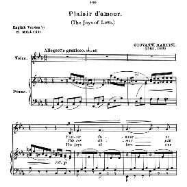 Plaisir d'amour, Low Voice in E Flat Major, J. P. Martini. For Mezzo, Contralto, Bass, Countertenor. Anthology of italian Song of the 17th and 18th Centuries, Parisotti Vol. 1, Schirmer (1894) | eBooks | Sheet Music