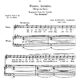 Posate, dormite, Medium Voice in A Flat Major, G.B. Bassani. For Mezzo, Baritone. Anthology of italian Song of the 17th and 18th Centuries, Parisotti Vol. 2, Schirmer (1894) | eBooks | Sheet Music