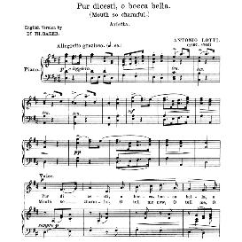 Pur dicesti, o boca bella,  Medium Voice in D Major, A. Lotti. For Mezzo, Soprano, Baritone. Anthology of italian Song of the 17th and 18th Centuries, Parisotti Vol. 1, Schirmer (1894), | eBooks | Sheet Music