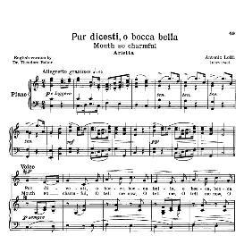 Pur dicesti, o boca bella, Low Voice in C Major, A. Lotti. For Contralto, Bass. Transposition for Low Voice.  Source: Anthology of italian Song of the 17th and 18th Centuries, Parisotti Vol. 1, Schirmer (1894) | eBooks | Sheet Music