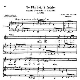 Se Florindo e fedele, Low Voice in F Major, A; Scarlatti. For Contralto, Bass. Transposition for Low Voice, Schirmer. Source: Anthology of italian Song of the 17th and 18th Centuries, Parisotti Vol. 1, Schirmer (1894) | eBooks | Sheet Music