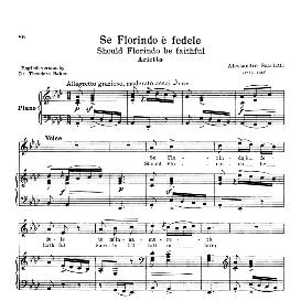 Se Florindo e fedele, Medium Voice in A Flat Major,  A. Scarlatti.  For Mezzo, Baritone. Reprint from  Anthology of italian Song of the 17th and 18th Centuries, Parisotti Vol. 1, Schirmer (1894 | eBooks | Sheet Music