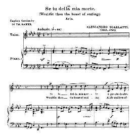 Se tu della mia morte, Low Voice in F Minor, A. Scarlatti. For Contralto, Bass, Countertenor. Anthology of italian Song of the 17th and 18th Centuries, Parisotti Vol. 1, Schirmer (1894,) | eBooks | Sheet Music