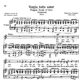 vergin, tutto amor, low voice in a minor, f.durante. for contralto, bass.  transposition for low voice. source: anthology of italian song of the 17th and 18th centuries, parisotti vol. 2, schirmer (1894)