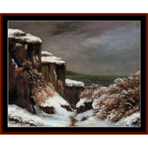 Cliffs by the Sea - Courbet cross stitch pattern by Cross Stitch Collectibles | Crafting | Cross-Stitch | Wall Hangings