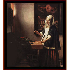 Woman Holding a Balance - Vermeer cross stitch pattern by Cross Stitch Collectibles | Crafting | Cross-Stitch | Wall Hangings