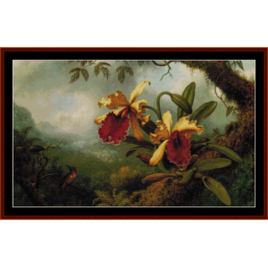 Orchids and Hummingbird - Heade cross stitch pattern by Cross Stitch Collectibles | Crafting | Cross-Stitch | Wall Hangings