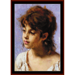 Portrait of a Peasant Girl - Harlamoff cross stitch pattern by Cross Stitch Collectibles | Crafting | Cross-Stitch | Wall Hangings