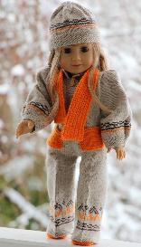 dollknittingpatterns - 0087d elsa -suit, shoes, cap and scarf