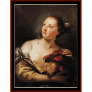 woman with parrot - tiepolo cross stitch pattern by cross stitch collectibles