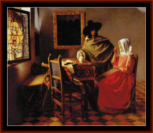 The Glass of Wine - Vermeer cross stitch pattern by Cross Stitch Collectibles | Crafting | Cross-Stitch | Wall Hangings