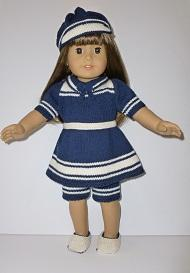 doll knitting pattern - v003-vintage bathing outfit