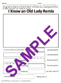 i know an old lady remix-write a new verse worksheet
