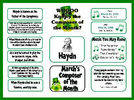 haydn composer of the month bulletin board and worksheet kit