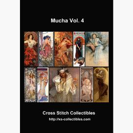 alphonse mucha vol 4 collection -cross stitch pattern by cross stitch collectibles