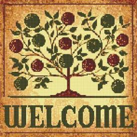 apple tree welcome sign cross stitch pattern