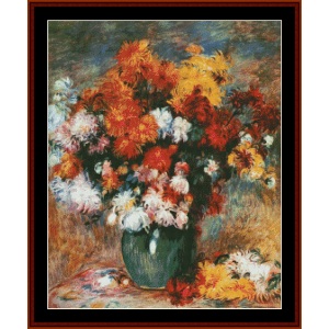 vase of chrysanthemums - renoir cross stitch pattern by cross stitch collectibles