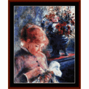 lady sewing - renoir cross stitch pattern by cross stitch collectibles