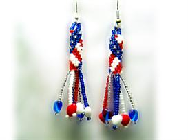 stars and stripes earring pattern with fringe