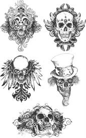 Black and white grunge skulls vector set | Photos and Images | Digital Art