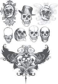 Black and white grunge skulls vector set 2 | Photos and Images | Digital Art