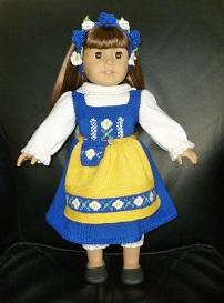 doll knitting pattern - c006 - sweden traditional costume